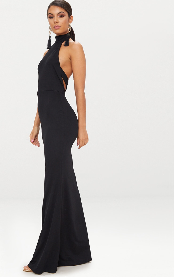 Black Cross Back High Neck Maxi Dress 4