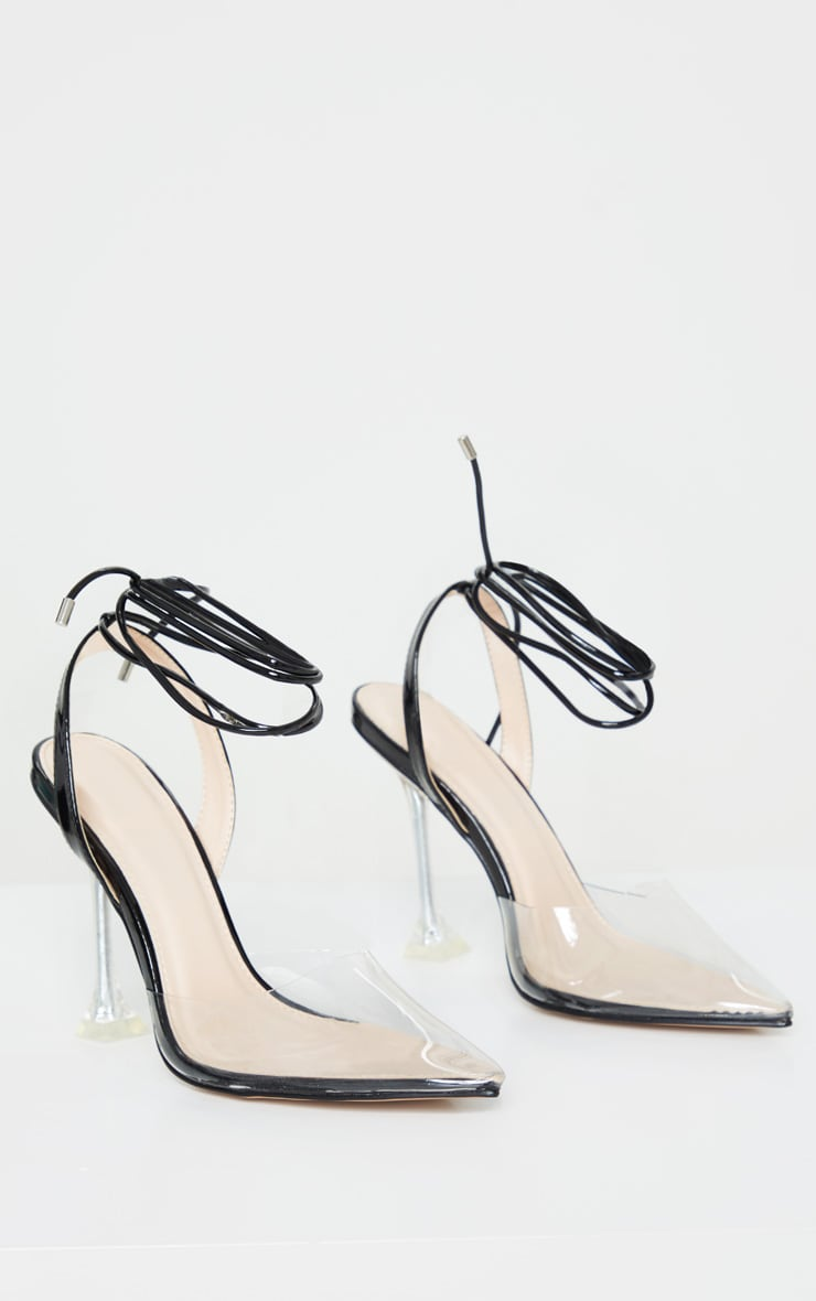 Black Cake Stand Clear Ankle Tie Court Shoe 3