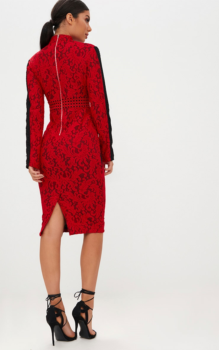 Red Crochet Lace High Neck Contrast Trim Midi Dress 2