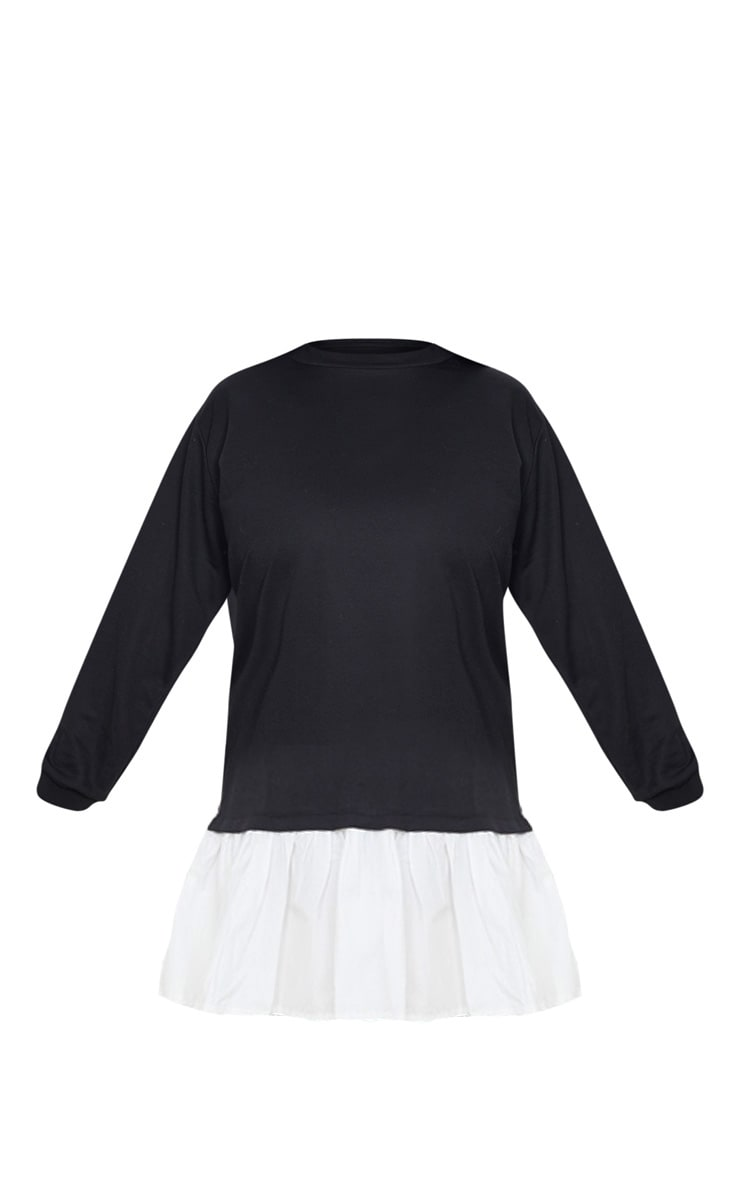 Plus Black Frill Hem Sweat Dress 3