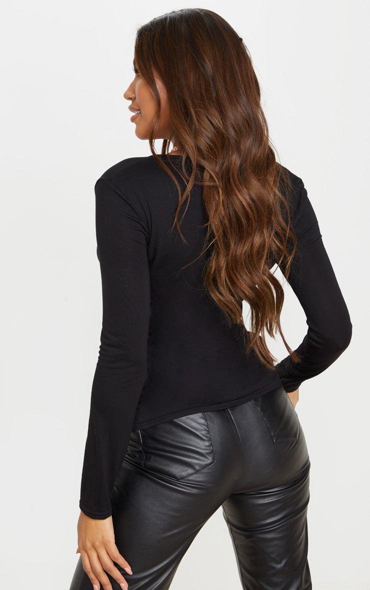 Black Jersey Double Zip Top 2