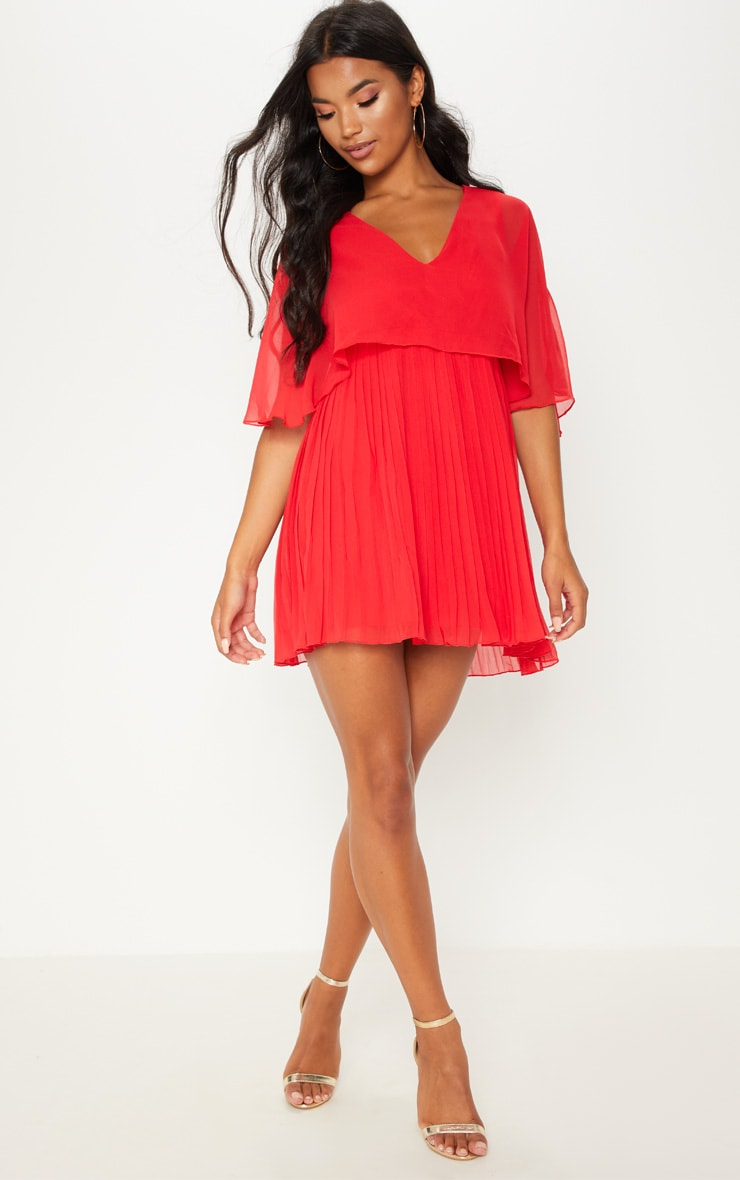 Red Cape Pleated Detail Skater Dress  4