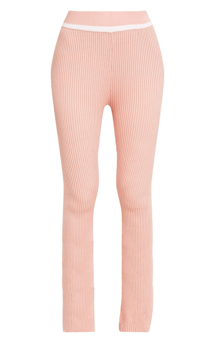 Sufiya Nude Colour Block Knit Ribbed Trousers 3