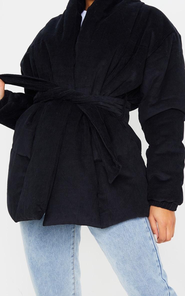 Black Cord Collar Tie Waist Puffer Jacket 5