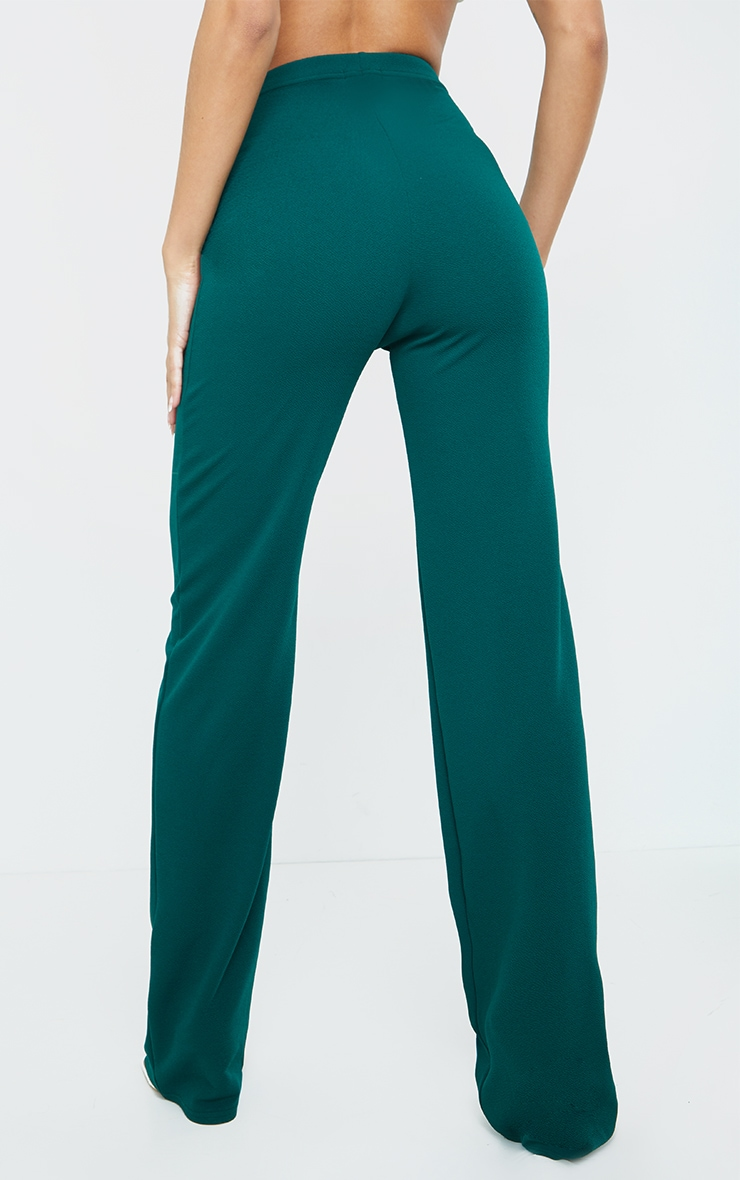 Teal Crepe Seam Front Wide Leg Trousers 3