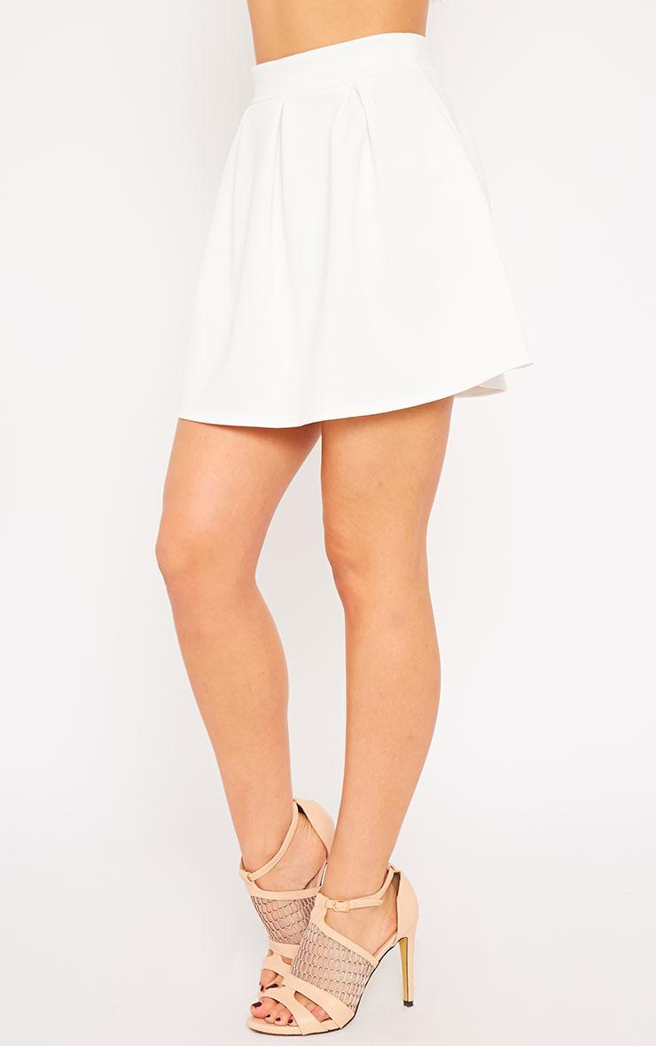 Astrid Cream Pleated Scuba Skater Skirt 3