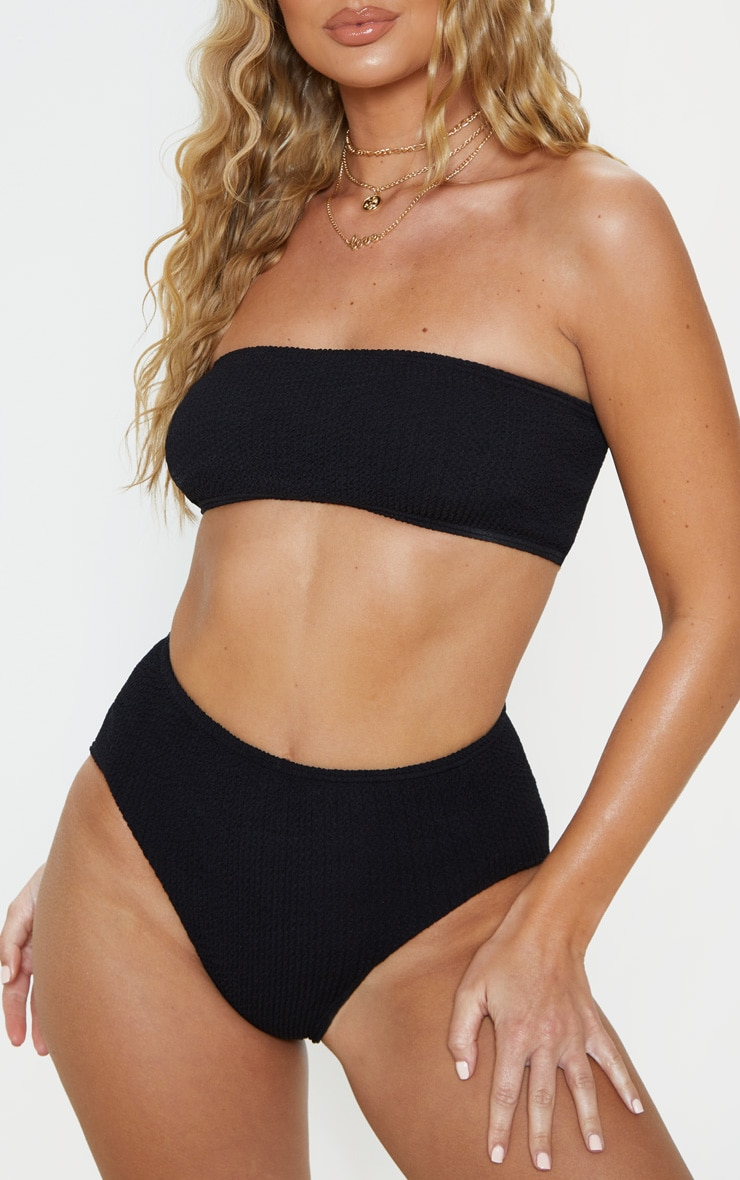 Black Crinkle High Waist Bikini Bottom 1
