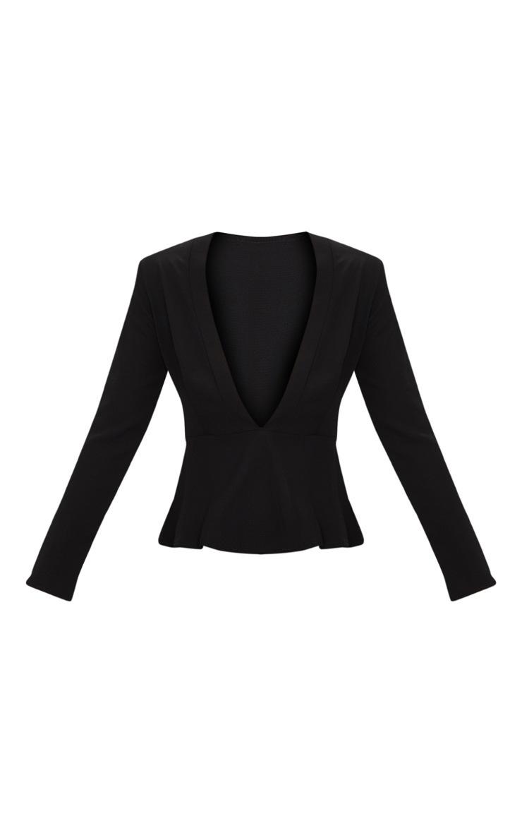 Black Chiffon Plunge Long Sleeve Blouse  3