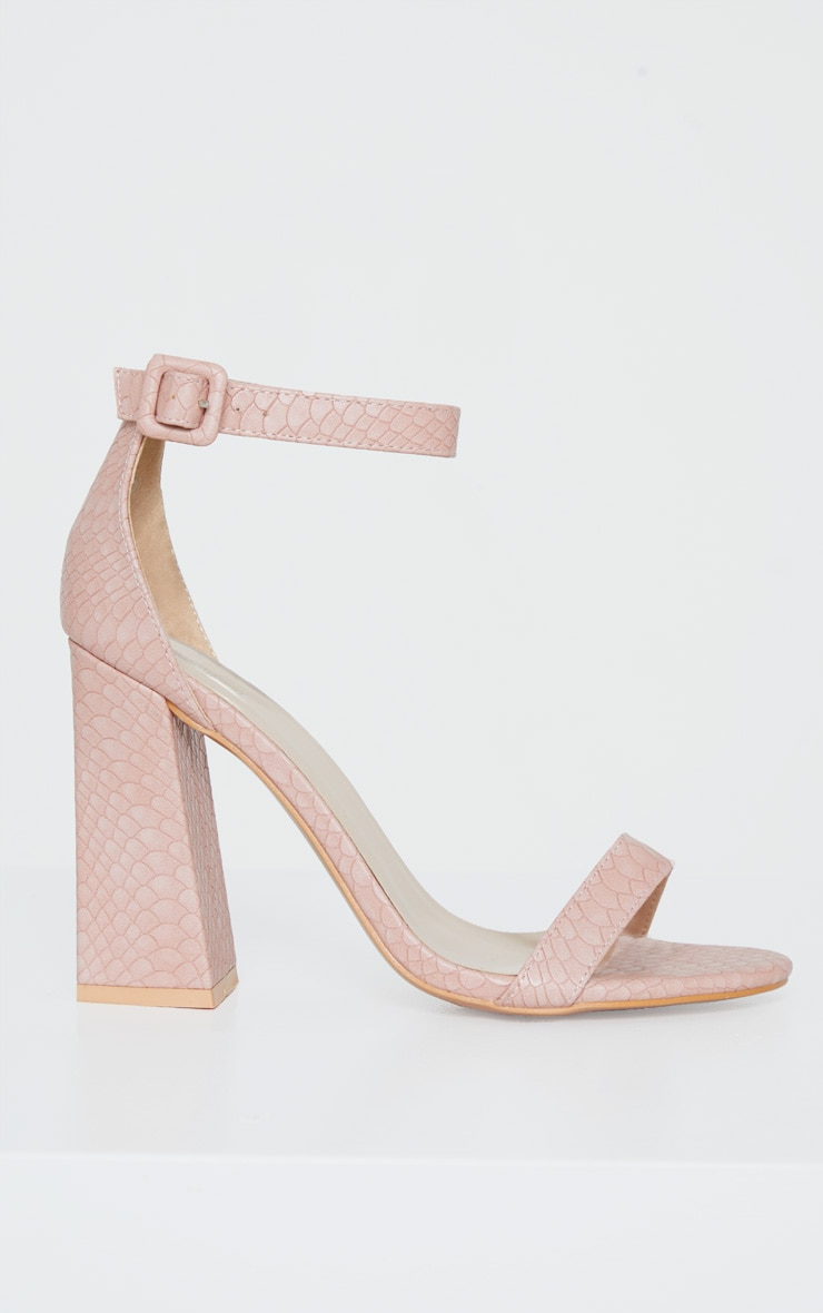Nude Square Buckle Ankle Strap Block Heel Sandal 3