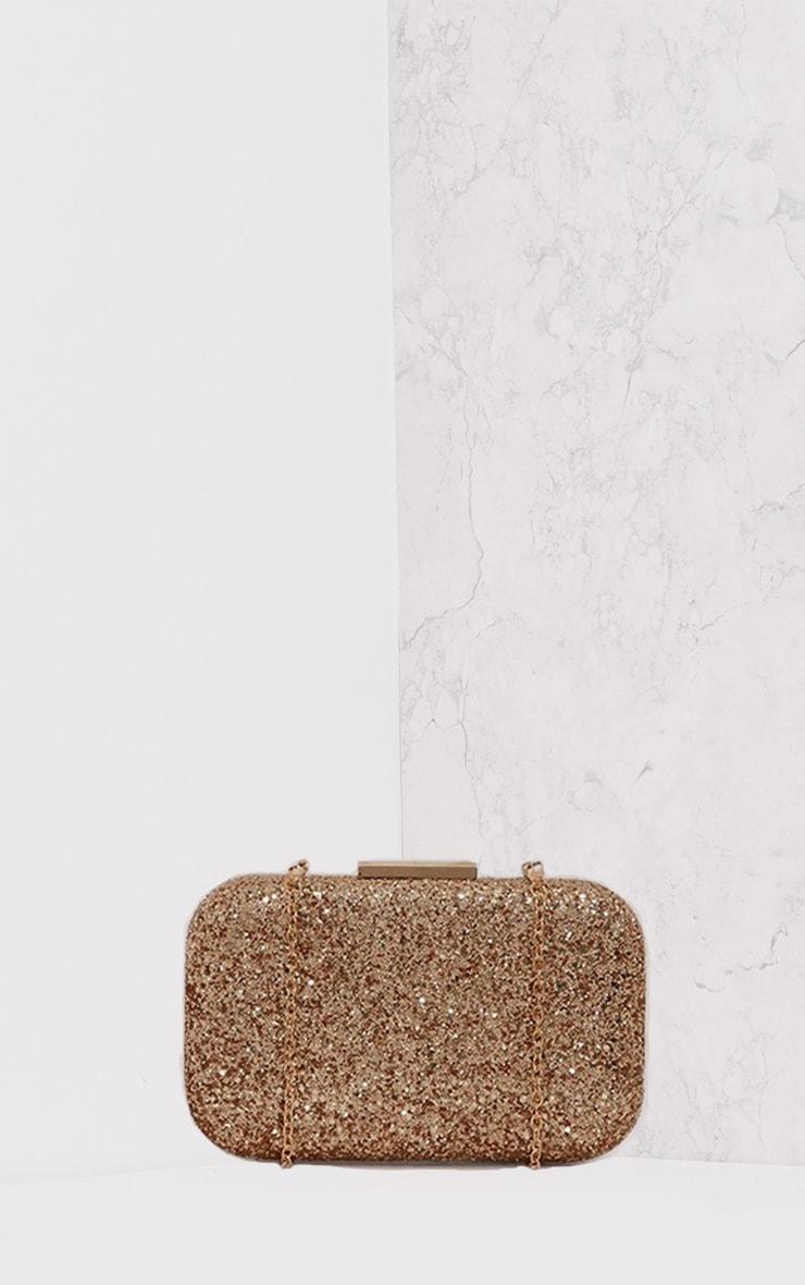 Vicky Gold Glitter Box Clutch Bag 2