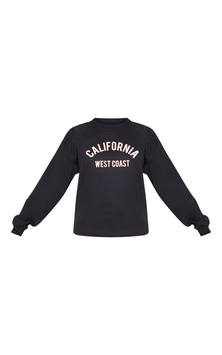 Black California Slogan Oversized Sweater 3