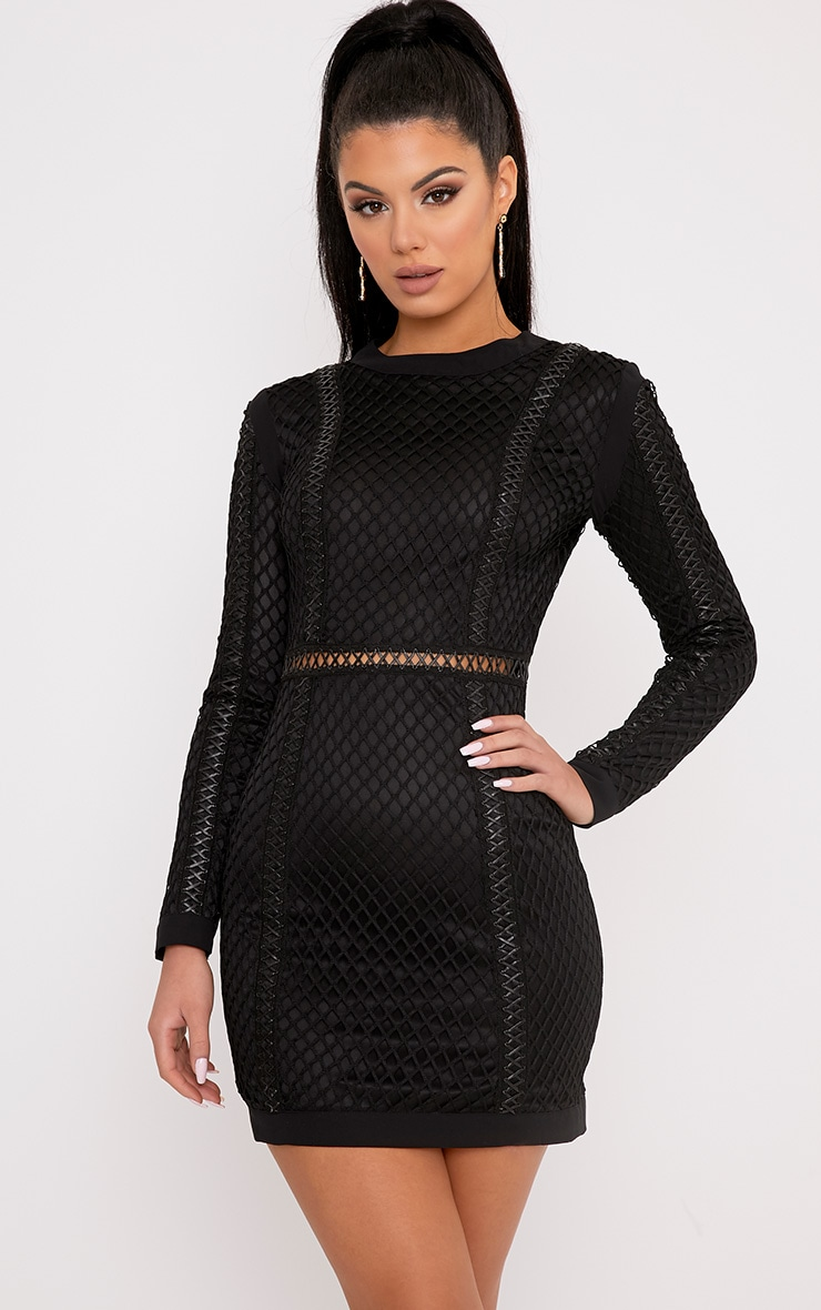Thea Black Fishnet Panel Bodycon Dress  1