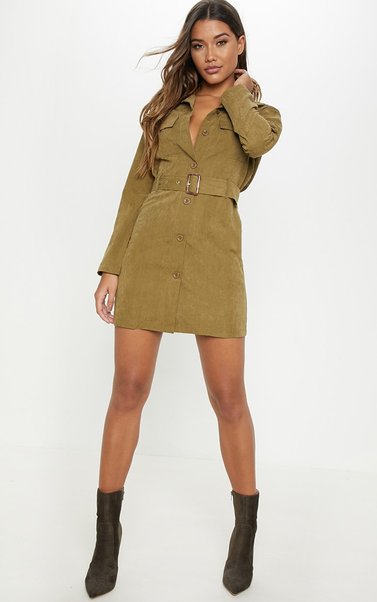 Khaki Faux Suede Button Front Belted Cargo Dress 4