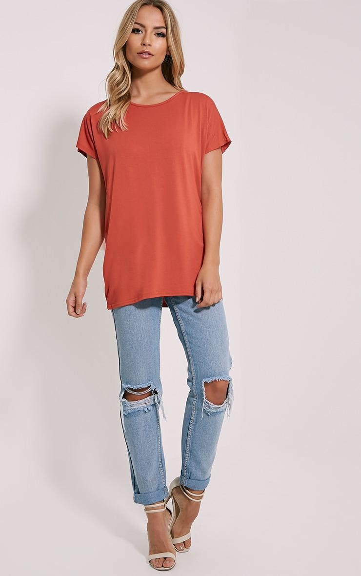 Basic Rust Oversized Round Neck T-Shirt 3