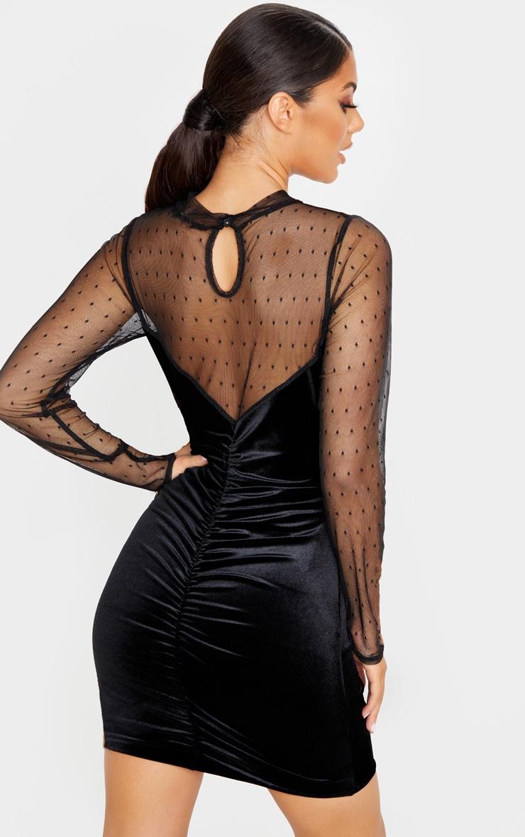 Black Velvet Dobby Mesh Bodice Long Sleeve Bodycon Dress 2