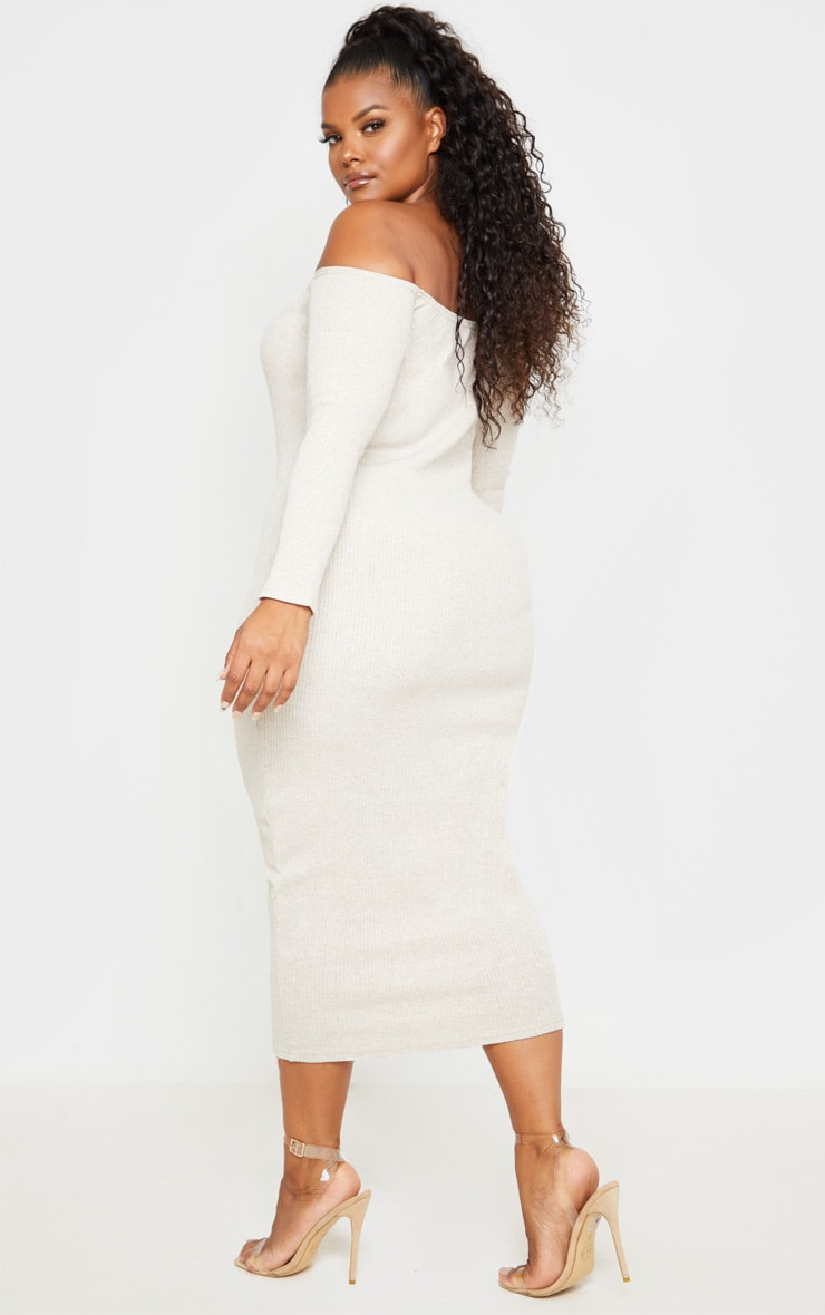 Plus Stone Ribbed Bardot Midi Dress 2
