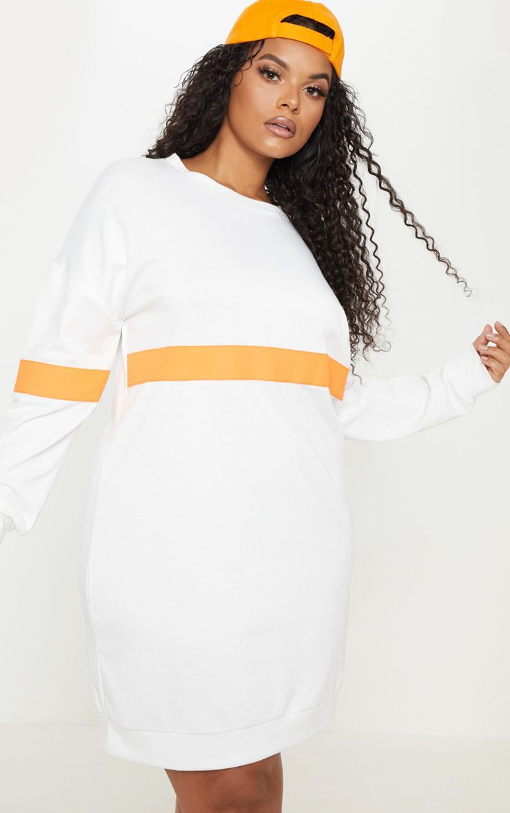 Plus White Neon Stripe Sweat Dress 1