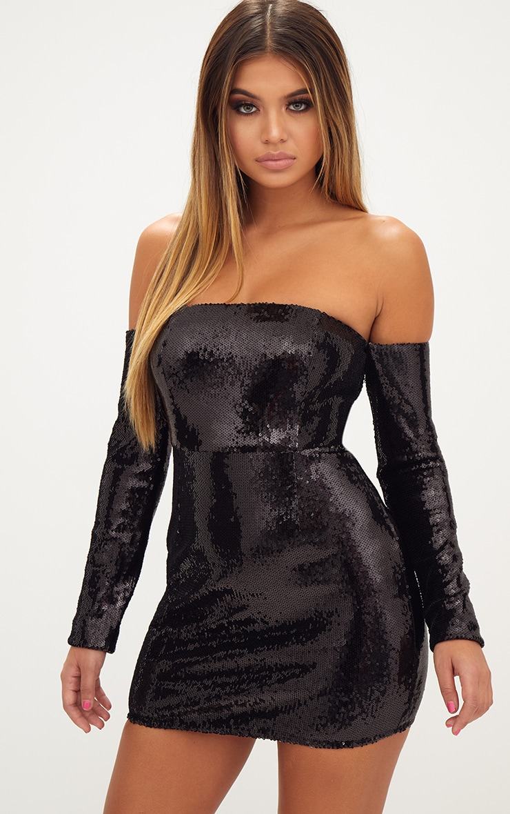 Black Sequin Long Sleeve Bardot Bodycon Dress 2