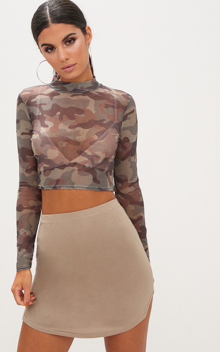 Taupe Double Side Split Mini Skirt  1