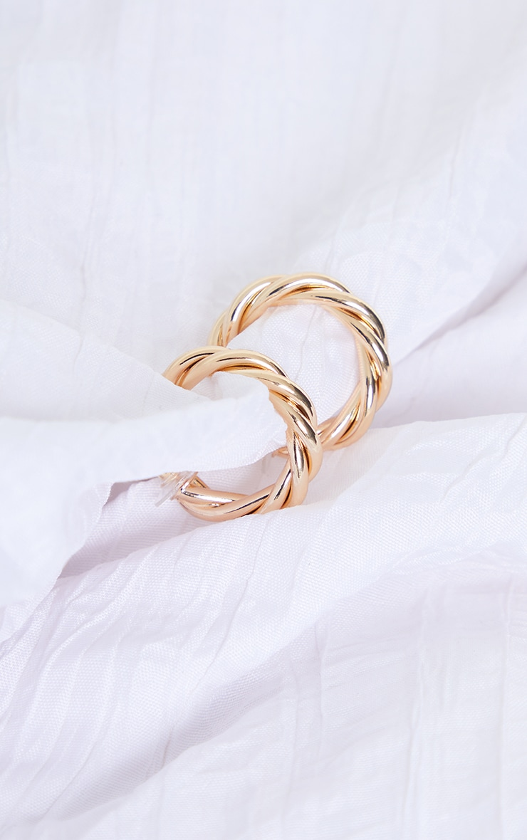 Gold Small Chunky Twist Hoop Earrings