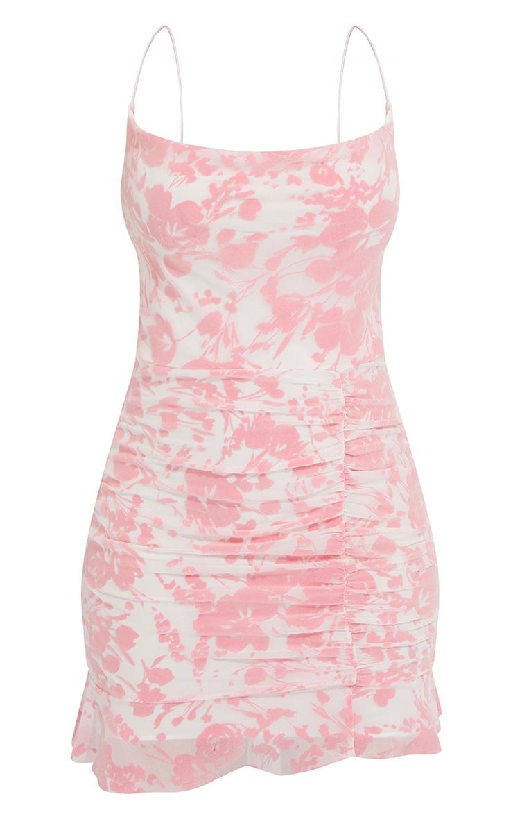 Pink Flocked Strappy Frill Hem Bodycon Dress 5
