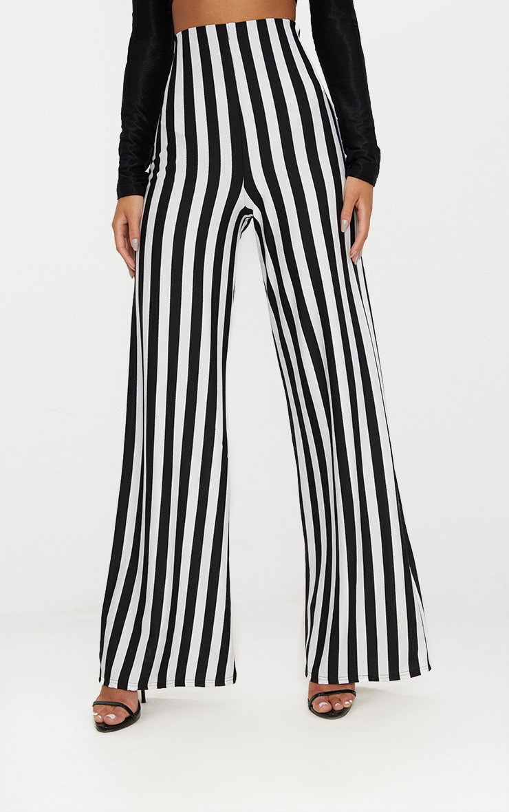 Black High Waisted Crepe Stripe Wide Leg Trouser 2