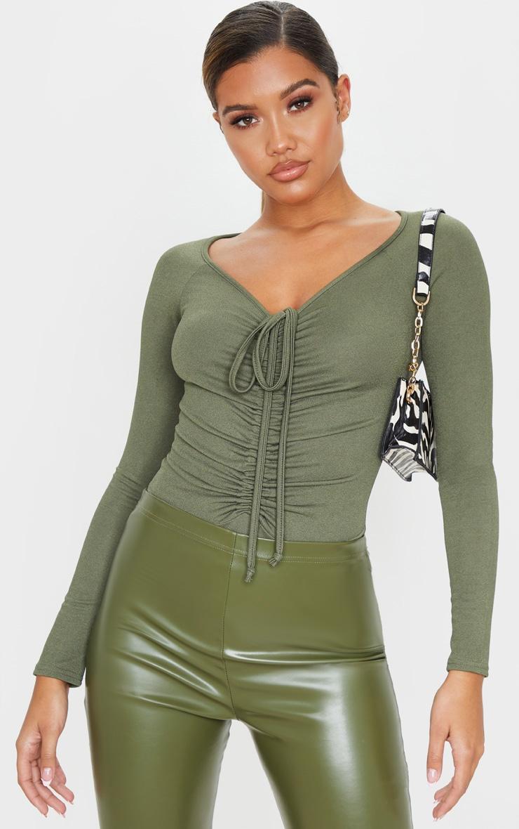 Sage Khaki Ruched Front Long Sleeve Bodysuit 1