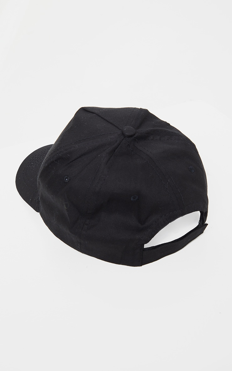 PRETTYLITTLETHING Black Embroidered Velcro Baseball Cap 3