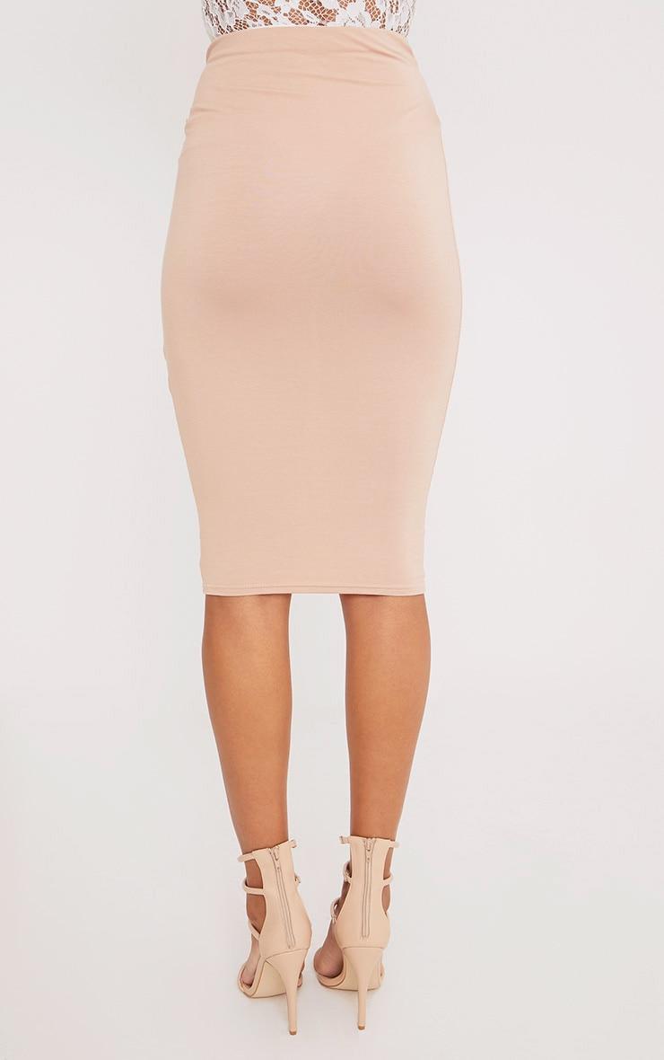 Jaina Nude Tie Front Midi Skirt  4
