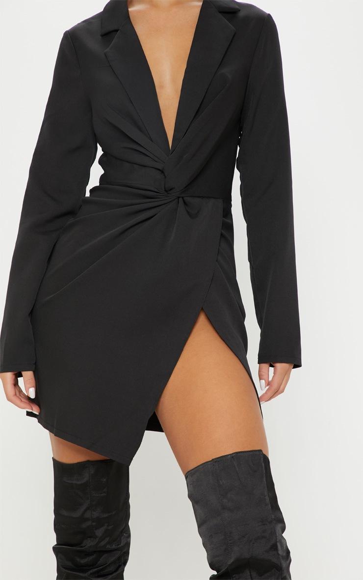 Black Knot Detail Wrap Blazer Dress 5