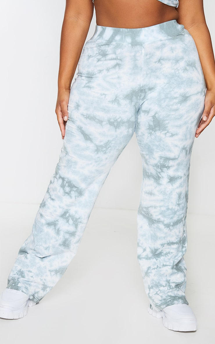 Plus Sage Green Tie Dye Flared Pants 2