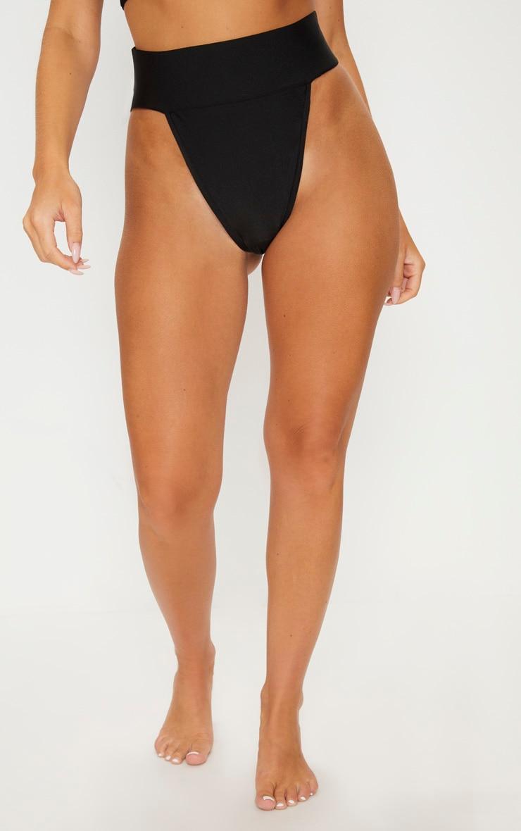 Black Deep Elasticated High Waist Bikini Bottom 2