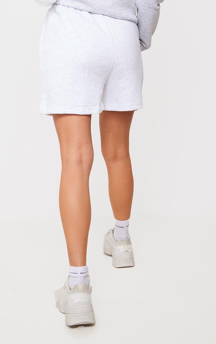 PRETTYLITTLETHING Ash Grey Established Graphic Sweat Shorts 3