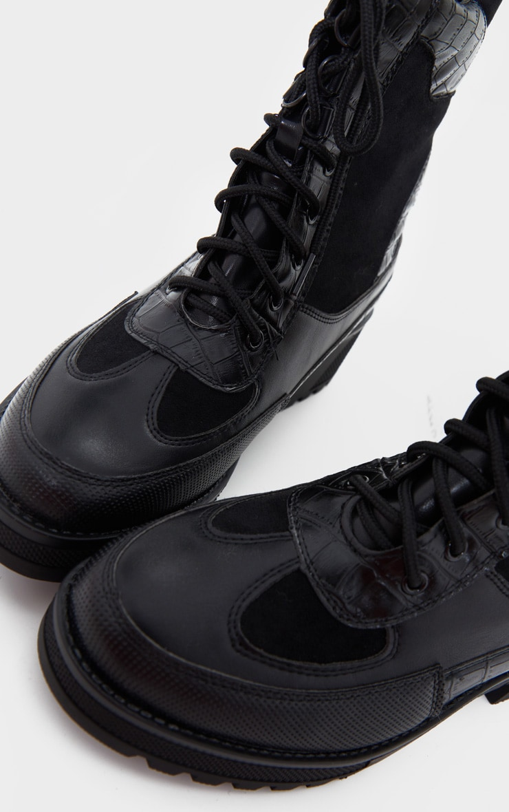 Black PU Lace Up Hiker Boots 3