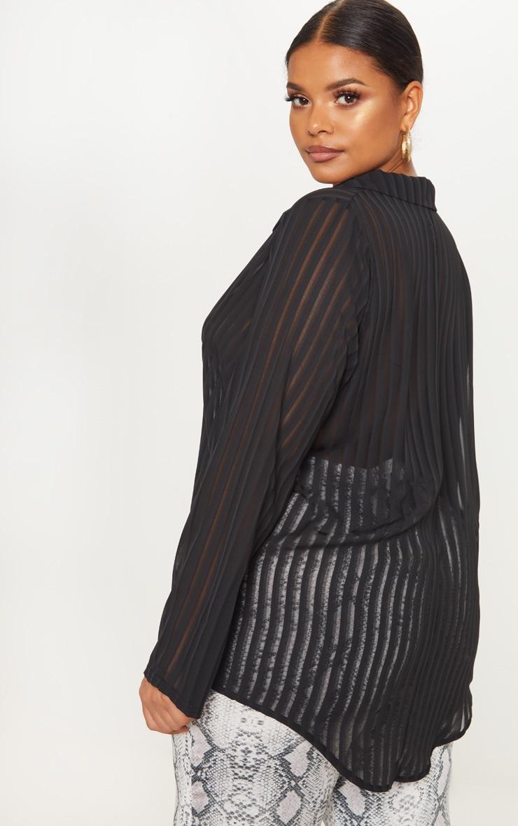 Plus Black Striped Chiffon Oversized Shirt 2