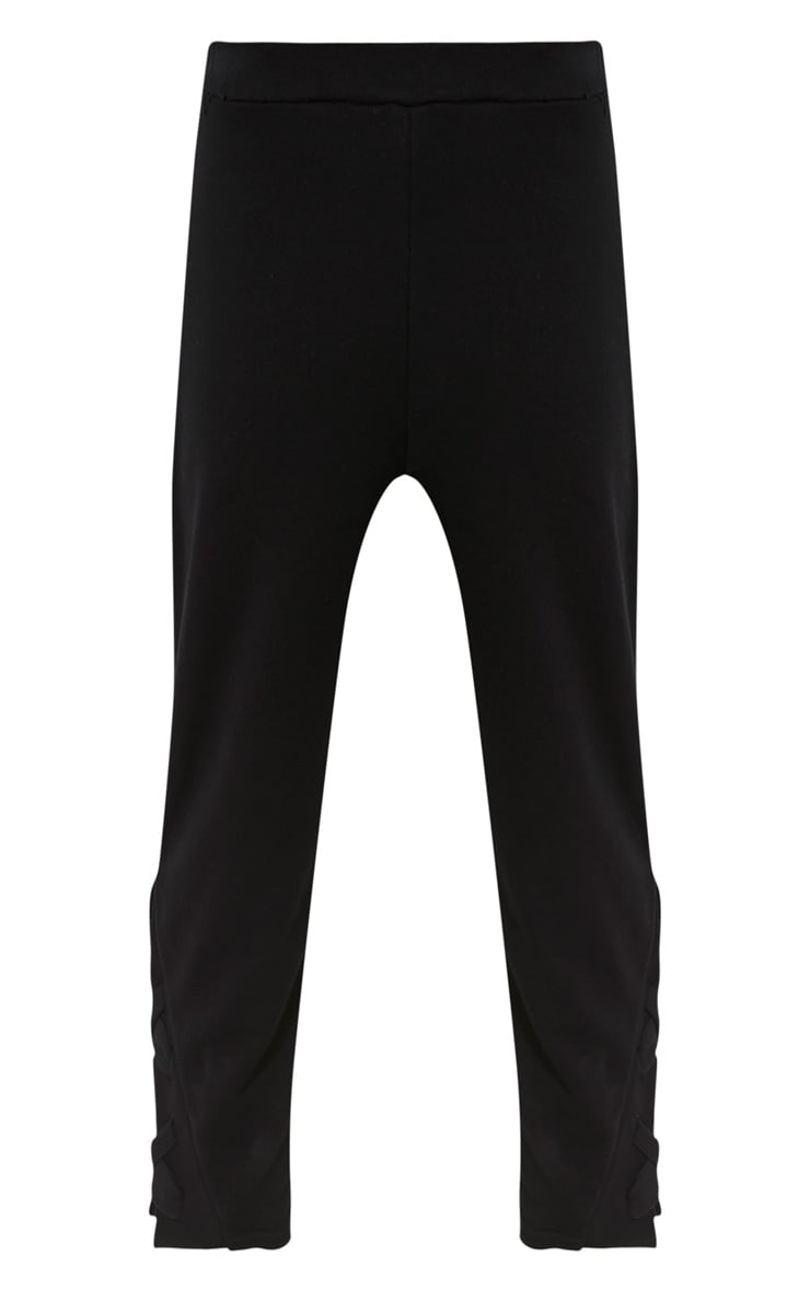 Pia Black Lace Up Side Cropped Joggers 3