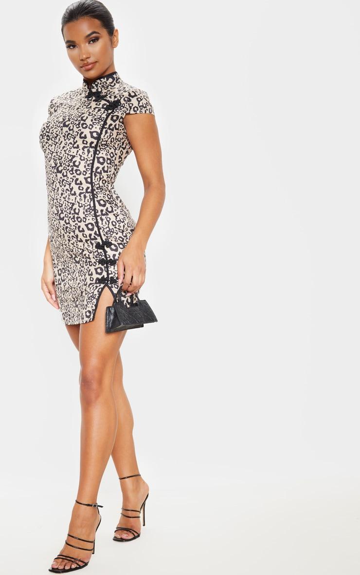 Brown Leopard Oriental Bodycon Dress 4