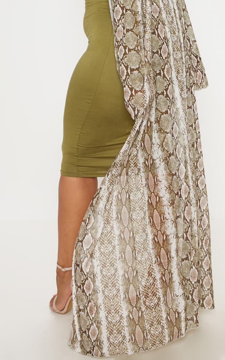 Plus Taupe Mesh Snake Print Maxi Kimono 5