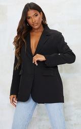 Black Woven Cut Out Oversized Blazer 3