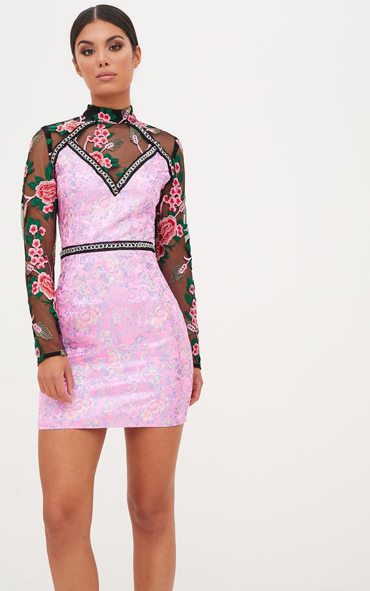 Premium Pink Lace Detail High Neck Jacquard Bodycon Dress 2