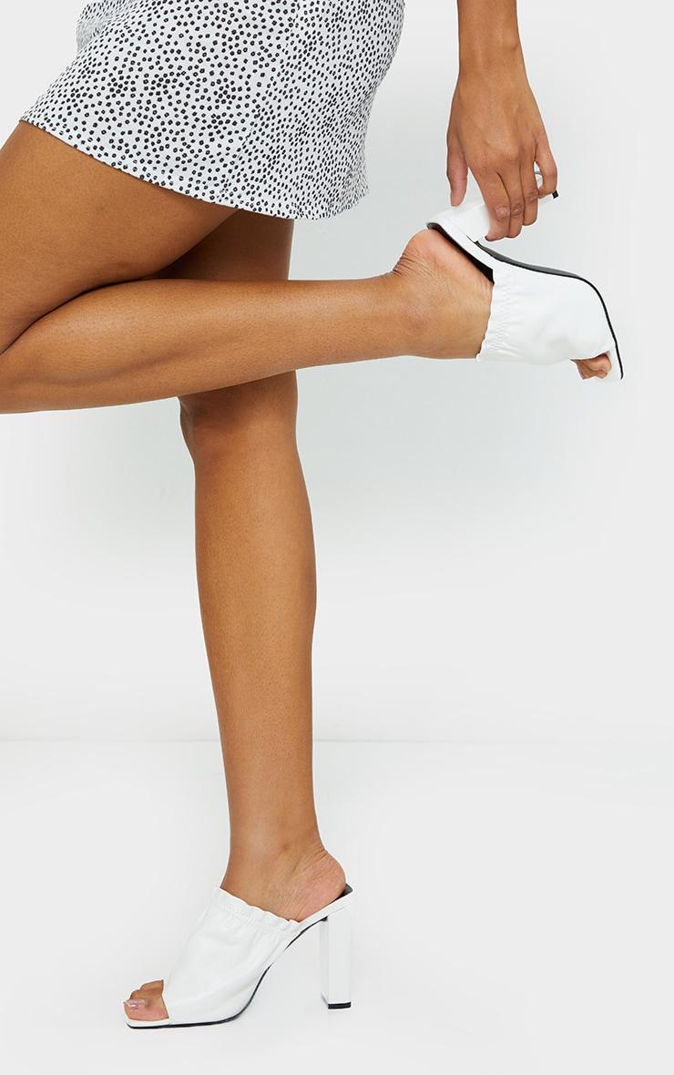 White PU Elastic Ruched Mule Heel 1