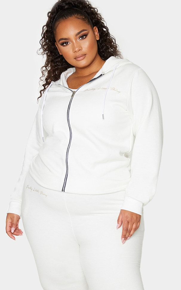PRETTYLITTLETHING Plus Cream Zip Hoodie 1