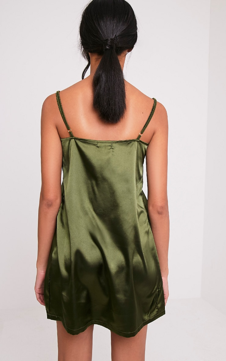 Erin Olive Plunge Satin Slip Dress 2