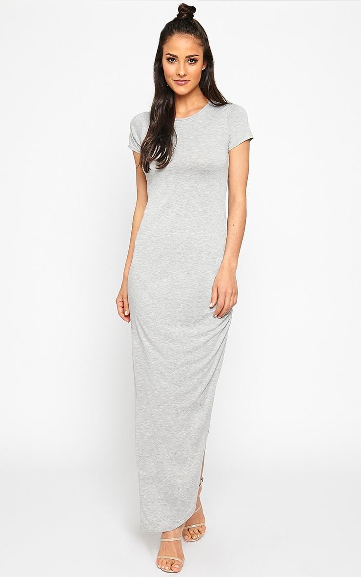 Basic Grey Ruched Cap Sleeve Maxi Dress 3