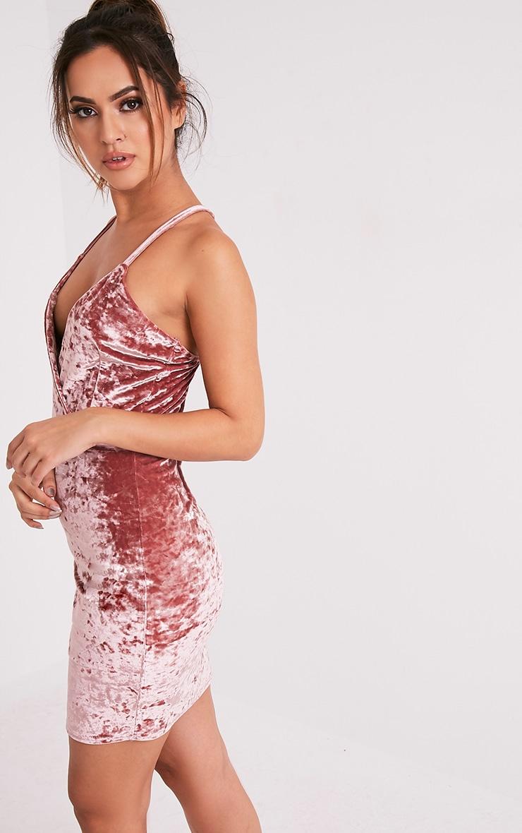 Jo Pink Strappy Crushed Velvet Bodycon Dress 4