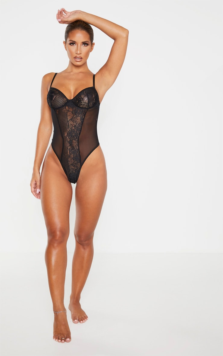 Black Stripe Lace And Mesh Side Body 4
