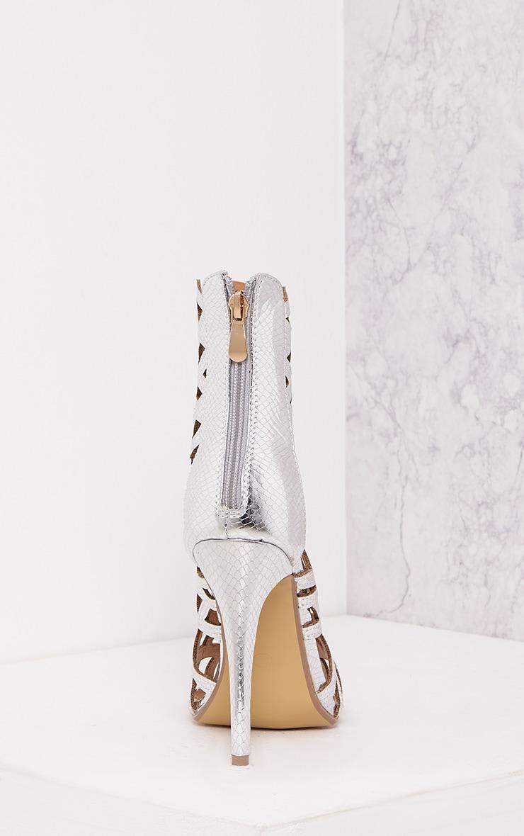 Derica Silver Metallic Honeycomb Heels 4