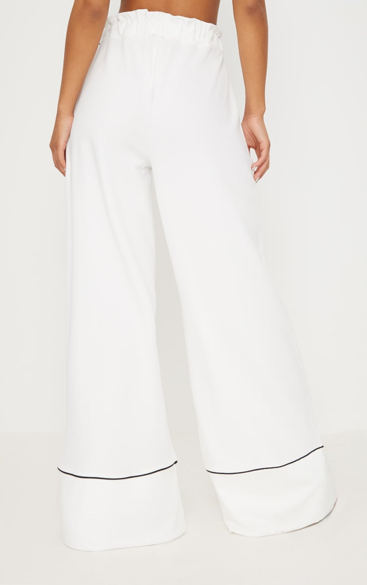 White Contrast Binding Ruched Waist Wide Leg Trouser 4