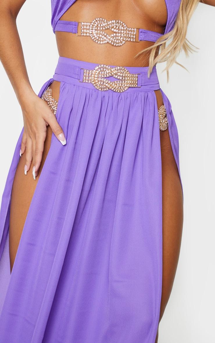 Purple Chiffon Diamante Jewel Beach Skirt 4