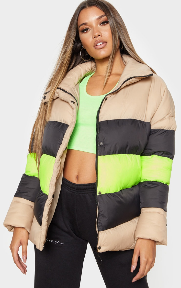 Camel Colour Block Panel Puffer  4